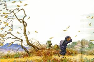 絵・冬の子ども(部分)川上四郎