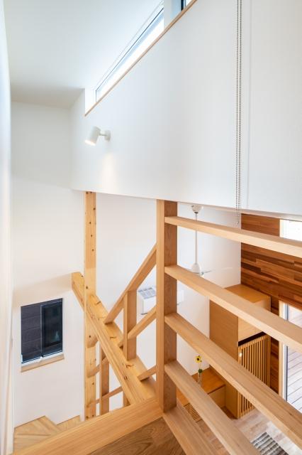 ハイサイドの窓から光の落ちる階段