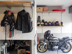 バイクガレージの収納