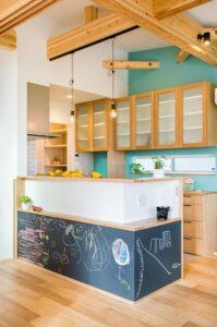 キッチン腰壁×黒板