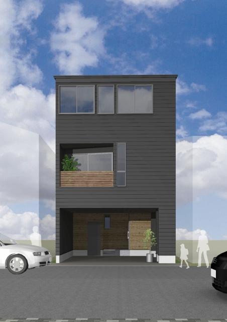 3階建ての家の箱型の外観