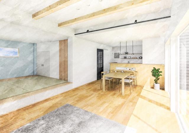 LDK+小上がり和室の建築パース